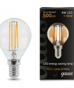 LED žarnica Gauss Filament Globe E14 4W 2700K