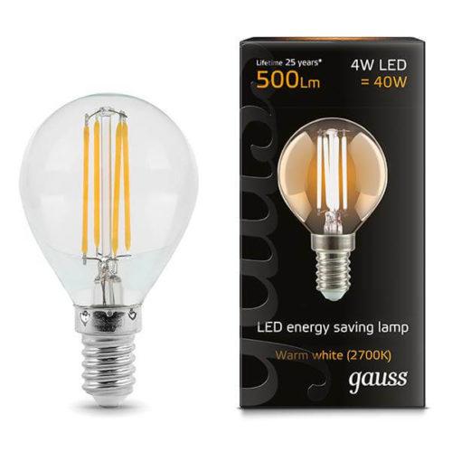 LED žarnica Gauss E14 4W 2700K okrogla