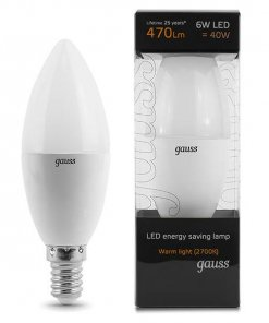 LED žarnica Gauss Candle E14 6W 2700K