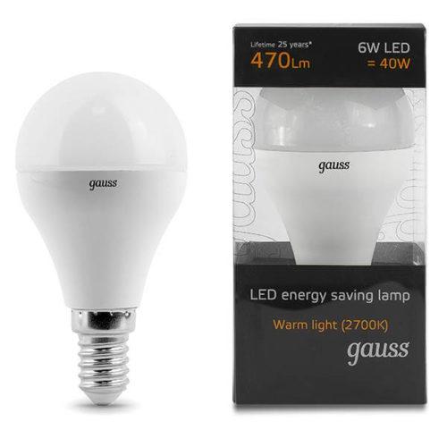 LED žarnica Gauss E14 6W 2700K dekorativna