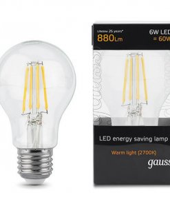 LED žarnica Gauss GLS Filament E27 6W 2700K