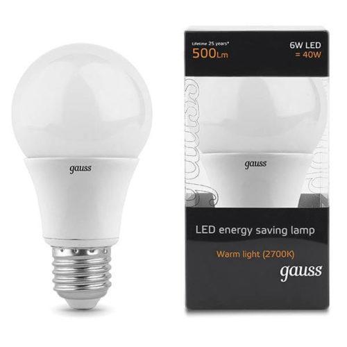 LED žarnica Gauss E27 6W 2700K gls