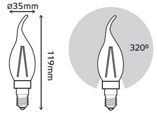 LED žarnica Gauss Filament Cand-tail E14 4W 2700K