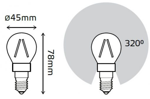 LED žarnica Gauss Filament Globe E14 4W 2700K