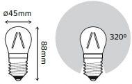 LED žarnica Gauss Filament Globe E27 4W 2700K