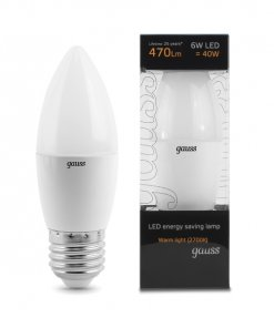 LED žarnica Gauss Candle E27 6W 2700K