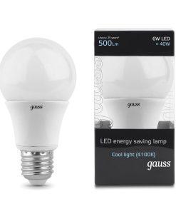 LED žarnica Gauss GLS E27 6W 4100K