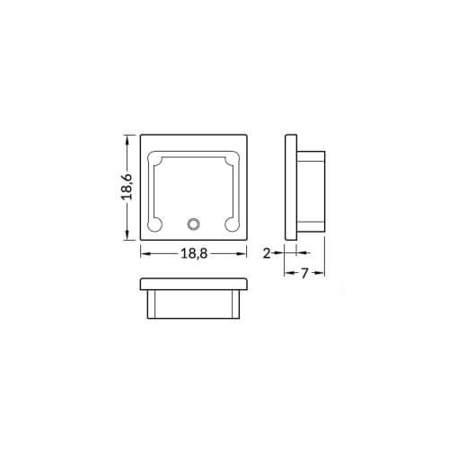 Zaključek za alu profil SMART16, srebrn, set1