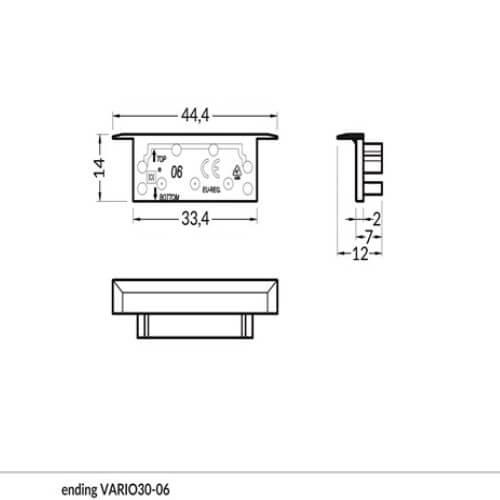 aključek za alu profil VARIO30-06, srebrn, se